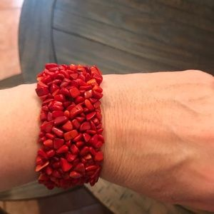 Red coral wide stretch bracelet